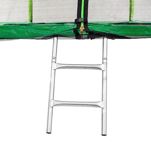 Батут Atleto 252 см з подвійними ногами з сіткою зелений