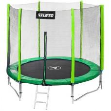 Батут Atleto 183 см с двойными ногами  с сеткой + лестница зеленый