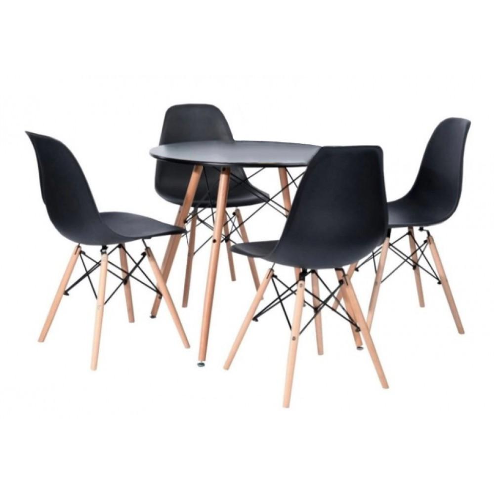 Стіл обідній круглий Bonro В-957-800 + 4 чорних крісла B-173