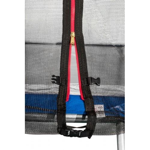 Батут Atleto 435 см з подвійними ногами з сіткою синій (3 місця)