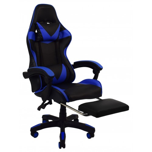 Крісло геймерське Bonro B-810 синє з підставкою для ніг