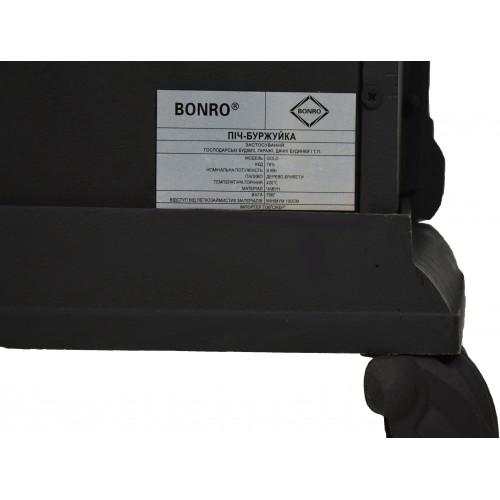 Камін піч буржуйка Bonro чугунна подвійна стінка 9 кВт Чорний 30000001