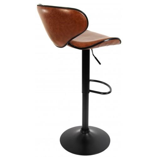 Барний стілець зі спинкою Bonro B-068 коричневий (чорна основа)