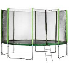 Батут Atleto 435 см з подвійними ногами з сіткою зелений (3 місця)