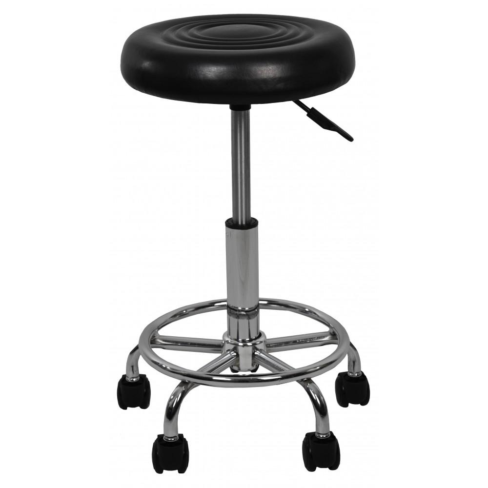 Крісло табурет на колесах без спинки кругле Bonro B-493 чорне