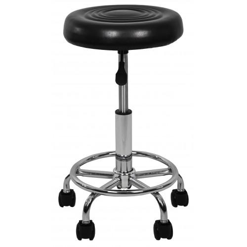Крісло табурет на колесах без спинки кругле Bonro B-775-1 чорне