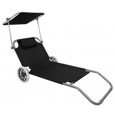 Шезлонг лежак на колесах з дашком Bonro SP-152-4 чорний