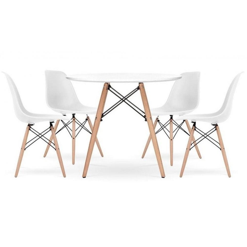 Стіл обідній круглий Bonro В-957-900 + 4 білих крісла B-173
