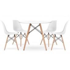 Стіл обідній круглий Bonro В-957-600 + 4 білих крісла B-173