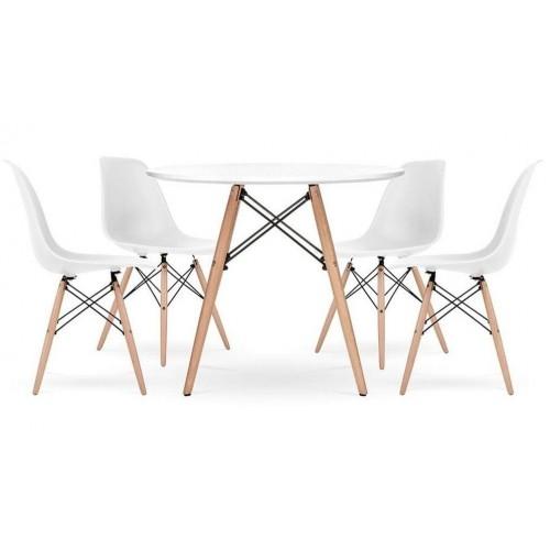 Стіл обідній круглий Bonro В-957-700 + 4 білих крісла B-173