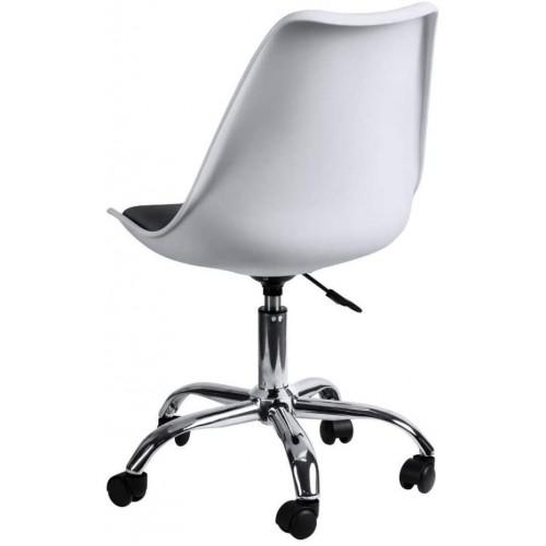 Крісло Bonro B- 487 на колесах біле з чорним сидінням